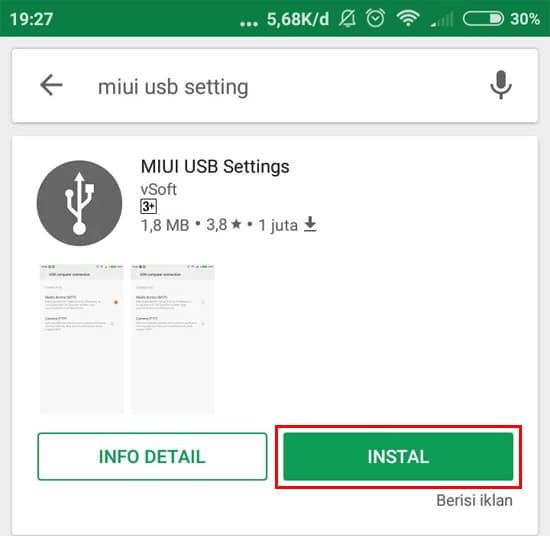 Install Aplikasi MIUI USB Settings