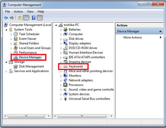 Pilih Device Manager lalu Pilih Keyboard