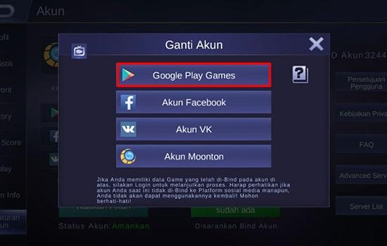 P[lih Login Menggunakan Akun Google Play