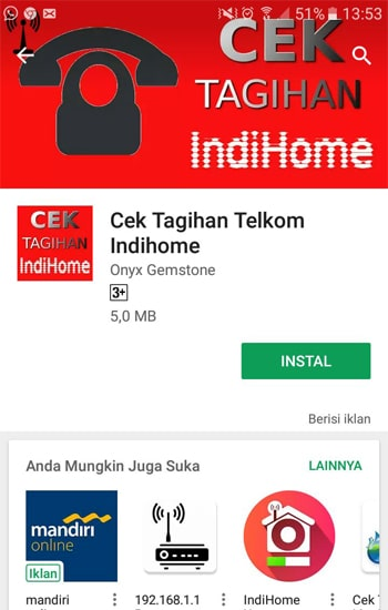Install Cek Tagihan Telkom Indihome