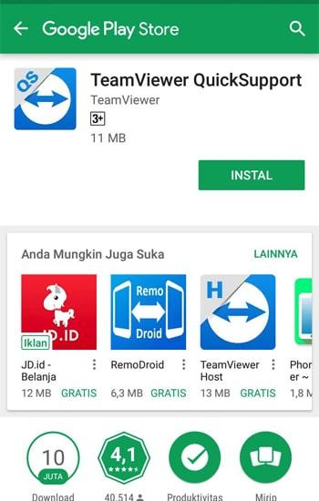 Install Apalikasi TeamViwer di Smartphone
