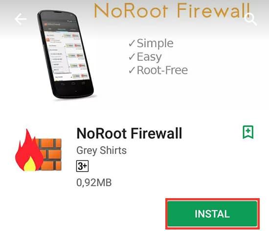 Install Aplikasi NoRoot Firewall