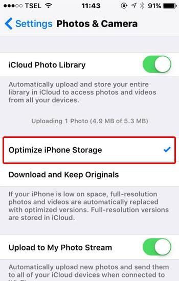 Ceklist Optimize iPhone Storage