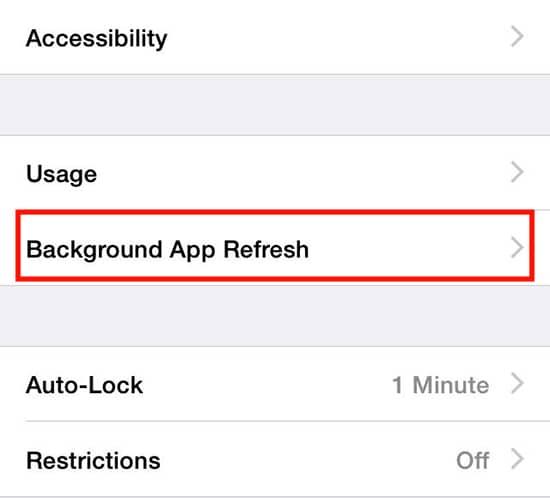 Pilih Background App Refresh