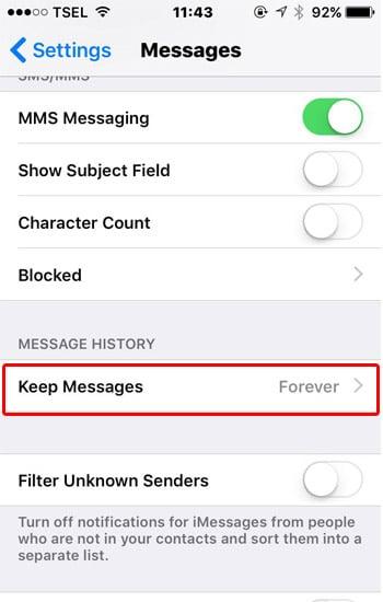 Pilih Menu Keep Messages