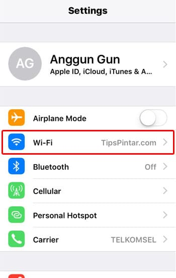 Pilih Menu WiFi