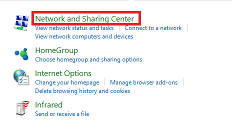 Pilih Network and Sharing Center