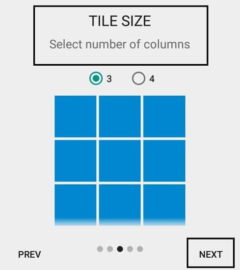 Pilih Tile Size