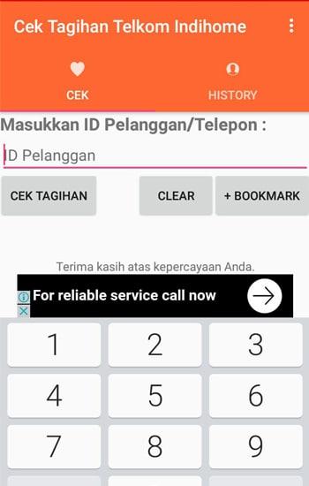 Tampilan Cek Tagihan Telkom Indihome