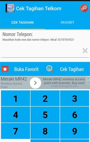 Tampilan Cek Tagihan Telkom