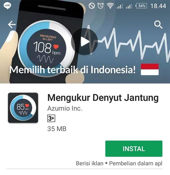 Install Aplikasi Mengukut Denyut Jantung