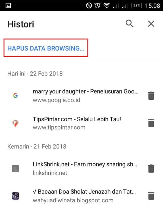 Pilih Hapus Data Browsing