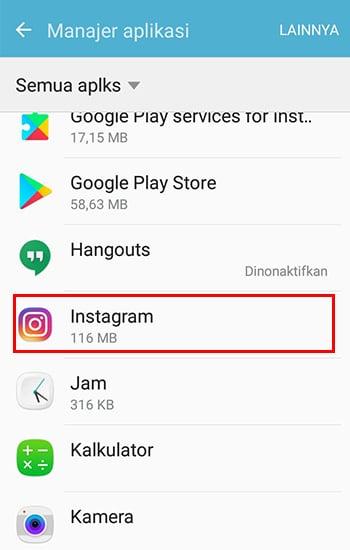 Pilih Aplikasi Instagram