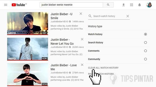 Hapus Semua Riwayat Menonton YouTube