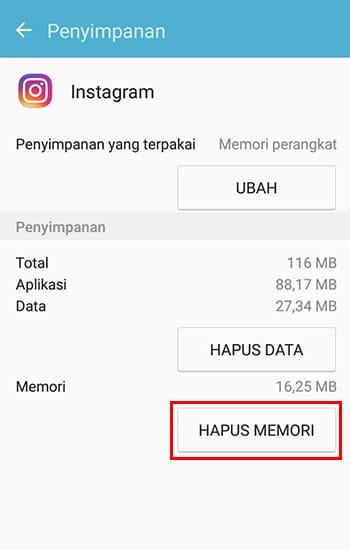 Pilih Hapus Memori