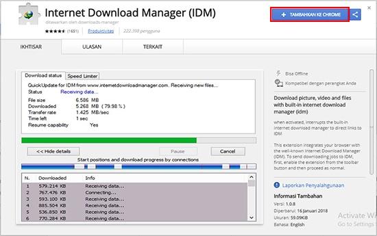 Tambahkan Internet Dowload Manager