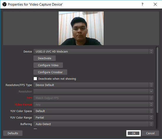 Pengaturan Video Capture Device