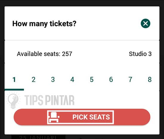 Pilih Jumlah Seat