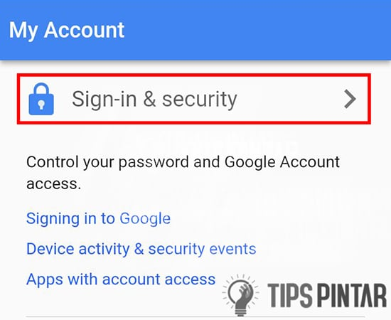 Pilih Sign & Security