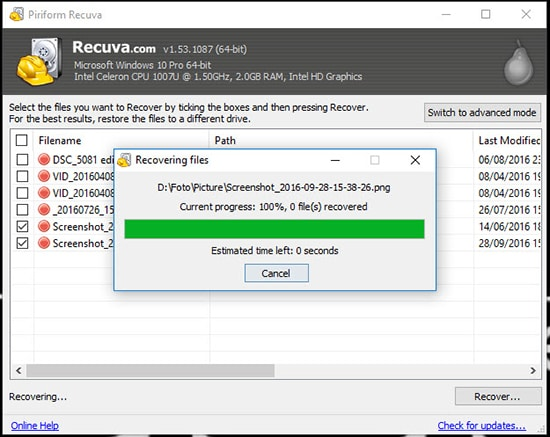 Proses Recover File