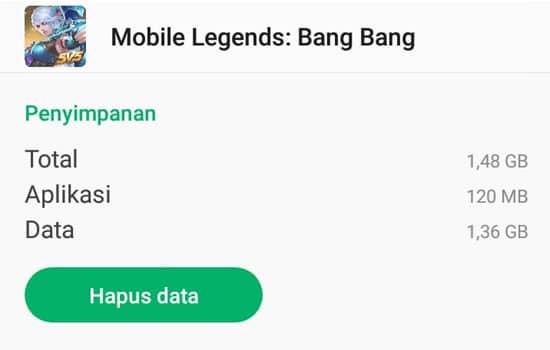 Hapus Data Mobile Legends