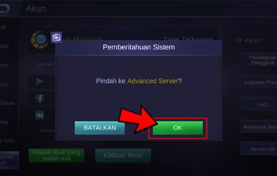 Klik OK untuk Berpindah Server