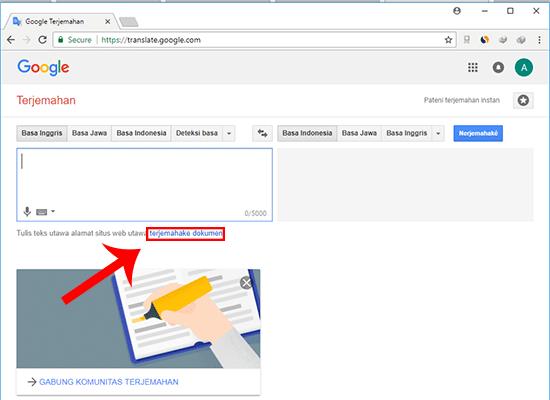 Masuk situs Google Translate