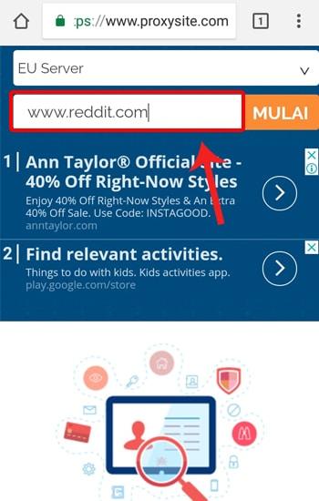 Masukan Situs dan Pilih Tombol Mulai