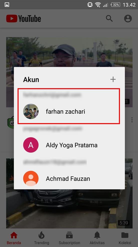 Pilih Akun Gmail