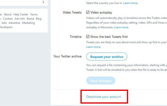 Pilih Deactivate Yout Account
