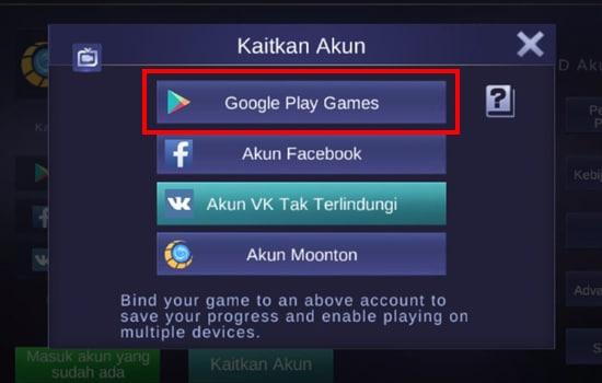 Pilih Google Play Games