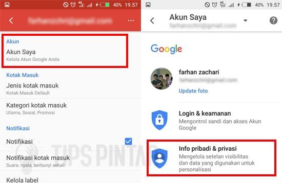 Pilih Info dan Privasi