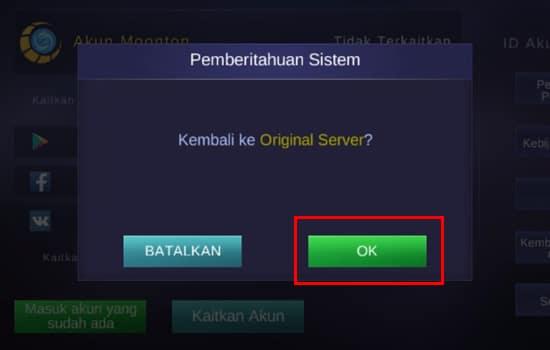 Pilih OK untuk Kembali