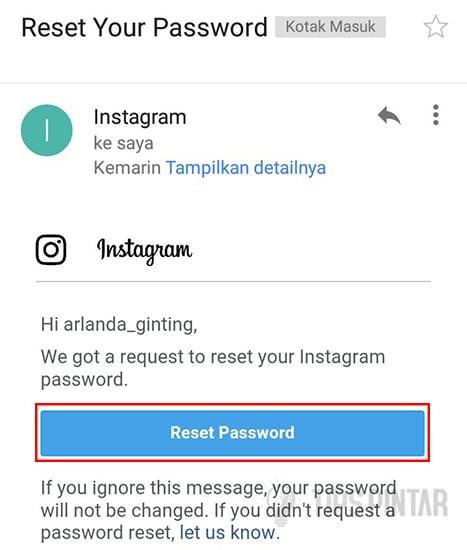 Pilih Reset Password