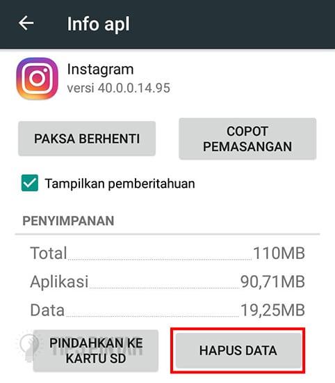 Hapus Data Instagram