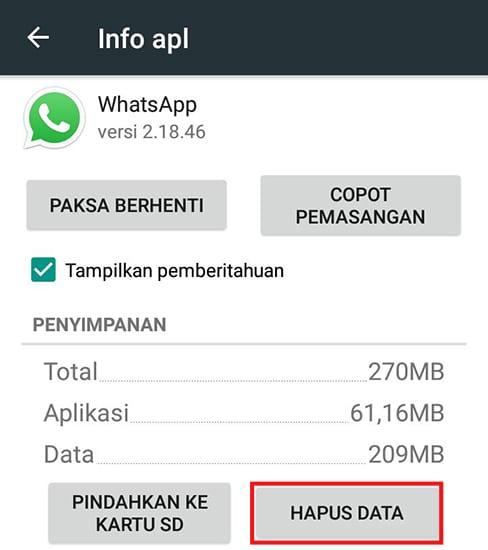 Hapus Data WhatsApp