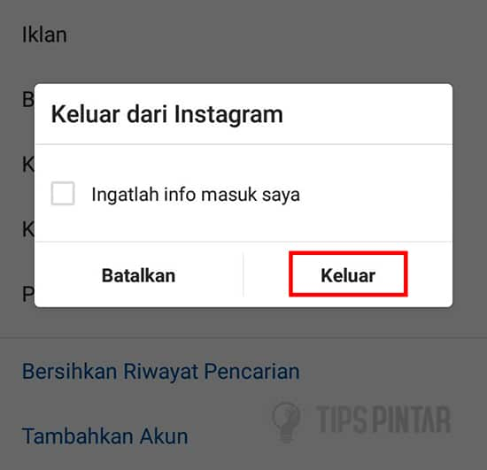 Logout Instagram