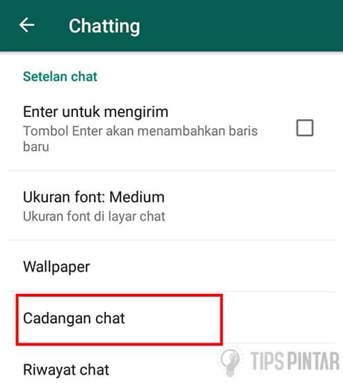 Pilih Cadangan Chat