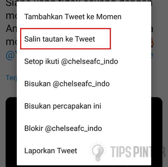 Pilih Salin tautan ke Tweet