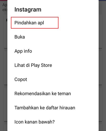 Klik Pemindahan Aplikasi
