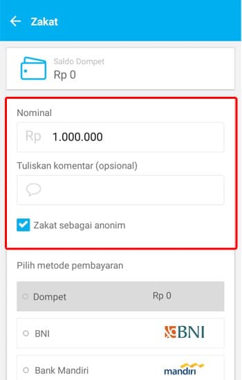cara membayar zakat online