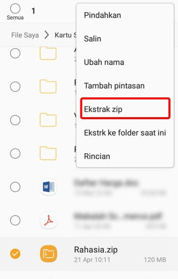 Pilih Menu Ekstak File