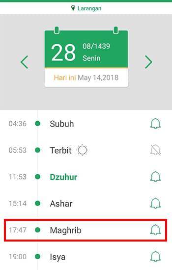 Setting Alarm Maghrib