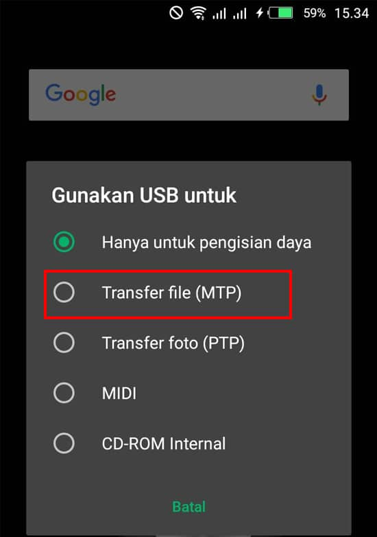 Pilih Mode Transfer File