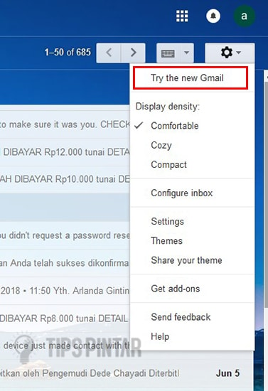Pilih Try the new Gmail