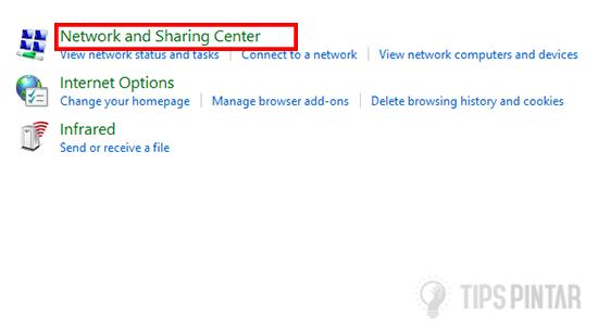 Klik Network and Sharing Center