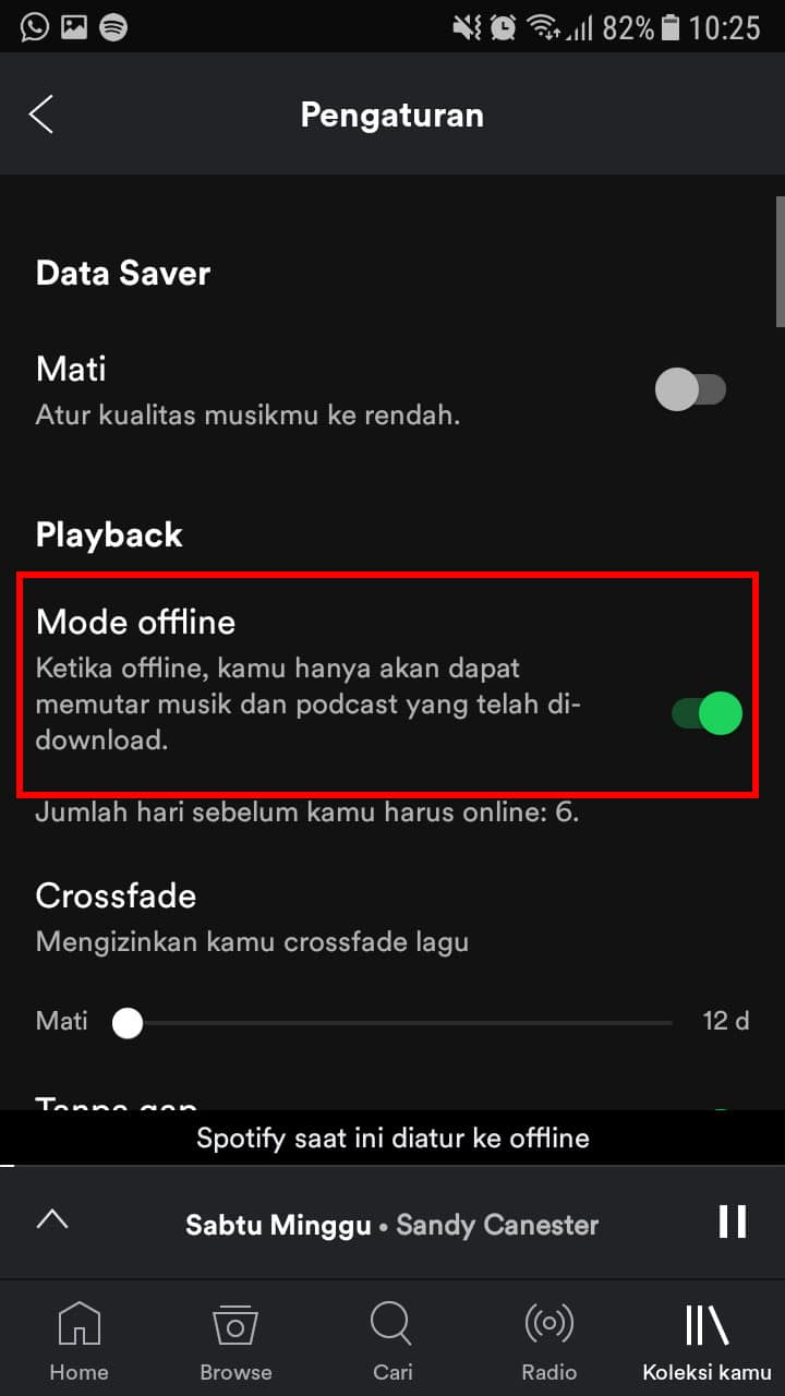 Aktifkan Toggle Mode Offline