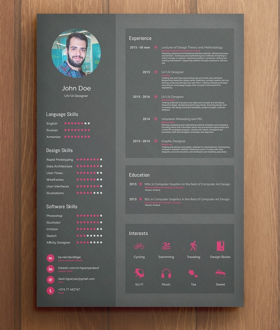 Flat Free Resume Template (Dark Pink)
