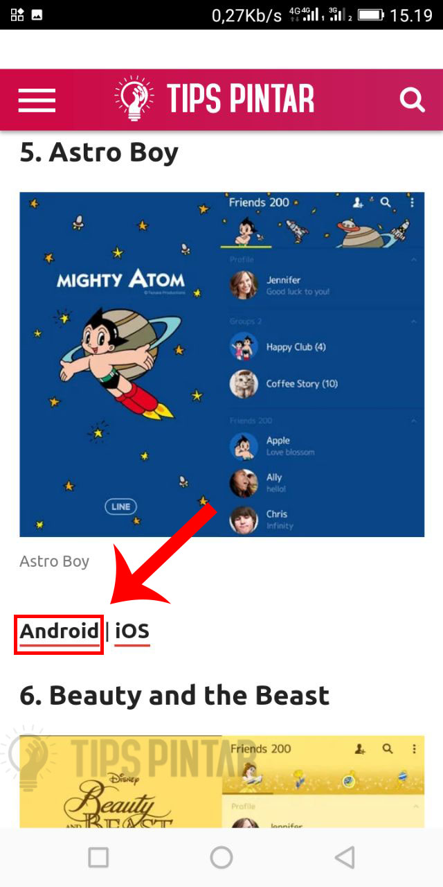 Pilih link Android