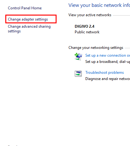 Klik Change Adapter Setting